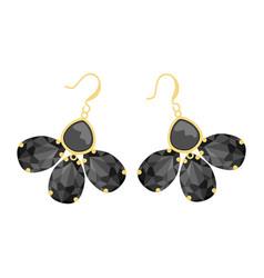 Womens earrings made black rhinestones in the vector