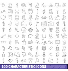 100 characteristic icons set outline style vector