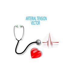 ecgstethoscope and heart vector image