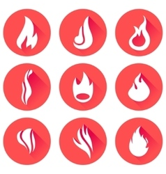 Fire flames icon set vector image vector image