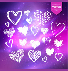 hand drawn white grunge hearts vector image vector image