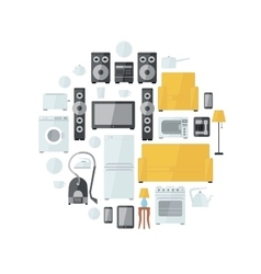 Household appliances flat colourful icons drawn up vector image
