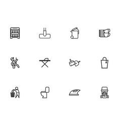 set of 12 editable hygiene outline icons includes vector image vector image