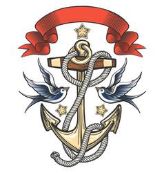 anchor with swallows and ribbon vector image