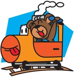 Bear and train vector image vector image