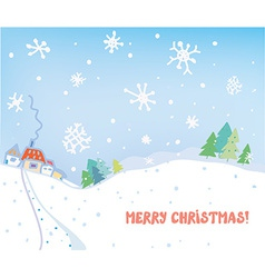 Christmas card with village houses forest and snow vector image vector image