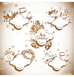 Doodle New Year and Christmas frame vector image