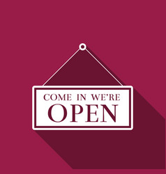hanging sign with text come in were open icon vector image vector image