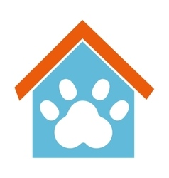 house mascot with footprint icon vector image vector image