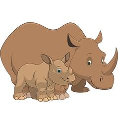 rhinoceros with cub vector image