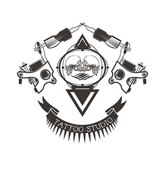 Tattoo studio logo emblem vector image