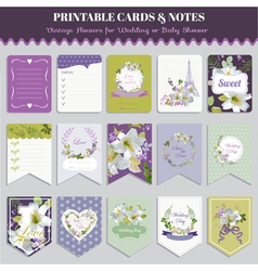 Vintage Pansy Flowers Card Set vector image