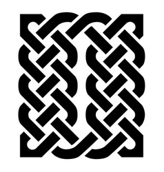 celtic knotted rectangle symbol in black vector image vector image