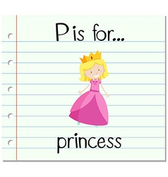 Flashcard letter p is for princess vector