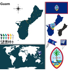 Guam map world vector image