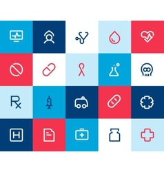 Medical and healthcare icons Flat vector image