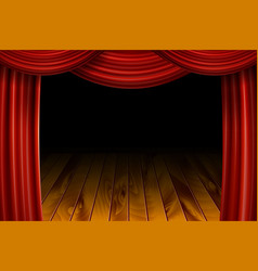 open red velvet movie curtains with black screen vector image