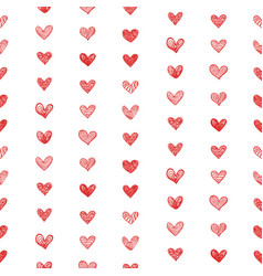 seamless pattern with doodle valentine hearts vector image vector image