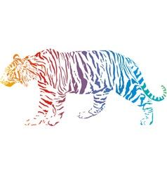 tiger - abstract rainbow vector image