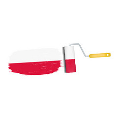 brush stroke with poland national flag isolated on vector image