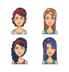 collection of portraits beautiful girls style vector image
