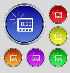digital Alarm Clock icon sign Round symbol on vector image