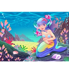Funny cartoon mermaid in the seascape vector image vector image