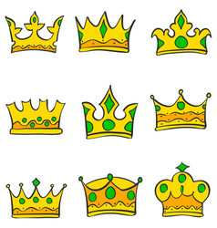 glamour style gold crown set doodle vector image vector image