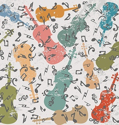 Grunge vintage background with violins and musical vector image vector image