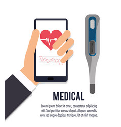 hand with smartphone thermometer medical health vector image