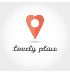 Map pointer in the form of heart icon vector image vector image