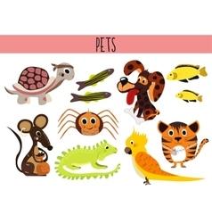 Set of Cute cartoon Animals and birds Pets Turtle vector image