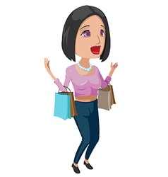 Woman Happy Shopping Cartoon vector image