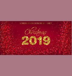 2019 red glitter card background golden vector image