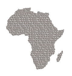 Africa map abstract schematic from black ones and vector