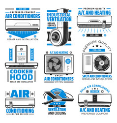 Air conditioning heating and cooking hood icons vector