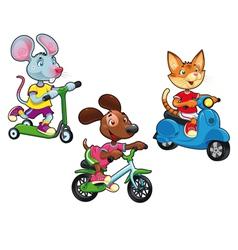 Animals on vehicles vector
