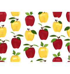 Apple seamless pattern on white background red vector