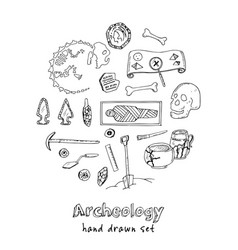 archeology hand drawn sketch set of vector image