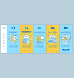Assistive industries onboarding mobile web pages vector