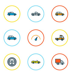 automobile icons colored line set with crossover vector image
