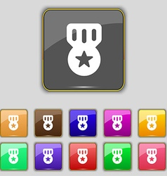Award Medal of Honor icon sign Set with eleven vector image