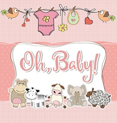 Baby girl shower card with animals vector