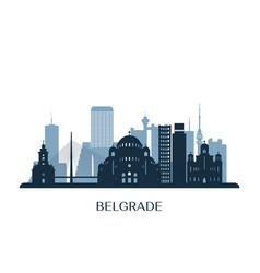 belgrade skyline monochrome silhouette vector image