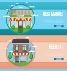 best market and beer bar banner set vector image