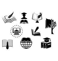 Black and white education or knowledge icons vector