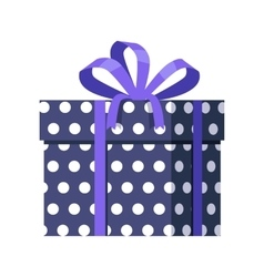 Blue Gift Box with White Dots Ribbon and Bow vector image