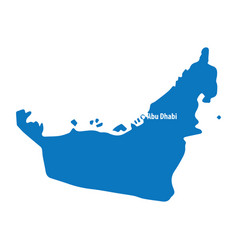 Blue similar uae map united arab emirates vector