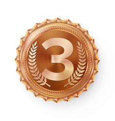 Bronze medal bronze copper 3rd place vector