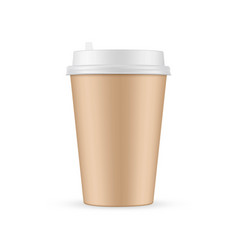 brown paper coffee cup mockup isolated vector image